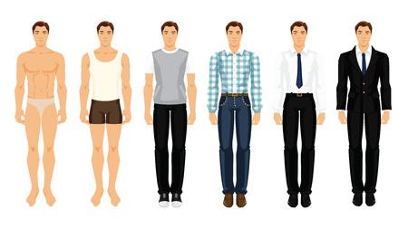 Vectorillustratie van jonge mannen in verschillende kleren
