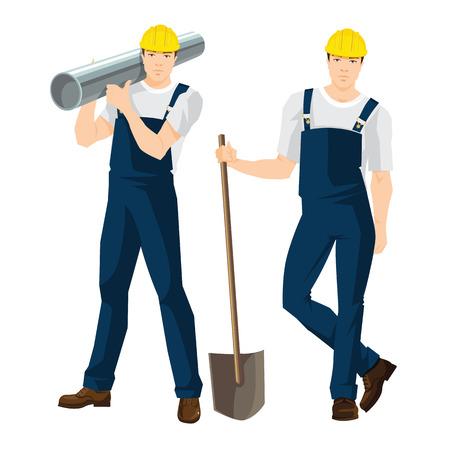 Vectorillustratie van arbeiders in overall en beschermende helm Stock Illustratie