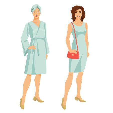 Vectorillustratie van een jong meisje in een handdoek en een badjas die op witte achtergrond wordt geïsoleerd.