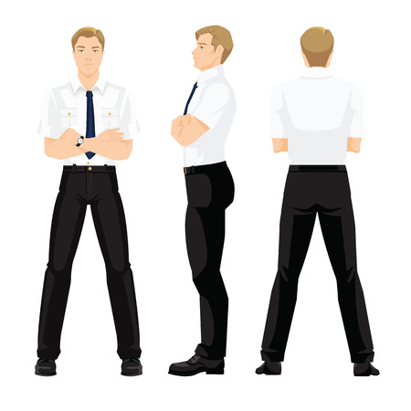 Vector illustration of business man in formal white shirt and black pants isolated on white background. Various turns man's figure. Front view, side and back view.