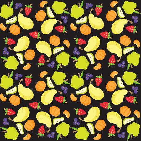 벡터 일러스트 레이 션의 과일 및 베리 패턴 일러스트