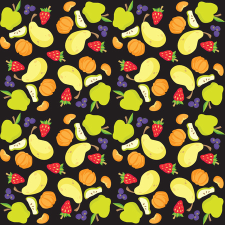 Vectorillustratie van fruit en bessenpatroon Stockfoto - 89912543