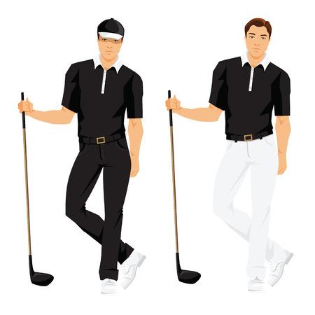 Vectordieillustratie van golfspeler in sportkleren op witte achtergrond wordt geïsoleerd