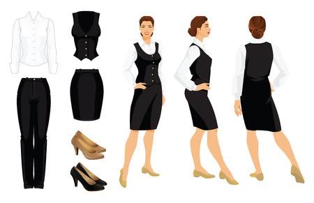 Vector illustratie van corporate dress code. Zakenvrouw of professor in formele kleding. Vooraanzicht, zij- en achteraanzicht. Wit shirt, zwarte broek, vest, ski en schoenen geïsoleerd op een witte achtergrond.