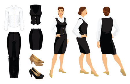 Vector illustration of corporate dress code. Business woman or professor in formal clothes. Front view, side and back view. White shirt, black pants, vest, ski and shoes isolated on white background. Çizim