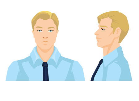 Vector illustration of mans face on white background. Various turns heads. Face in front view and side view.