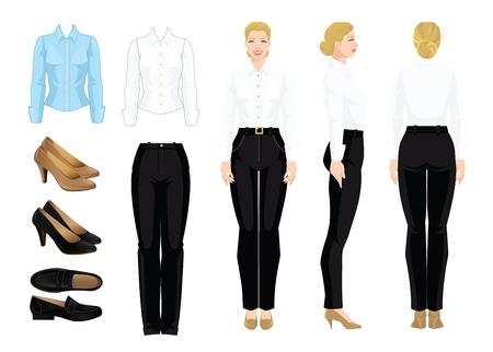 Vector illustratie van corporate dress code. Zakenvrouw of hoogleraar in formele kleding. Vooraanzicht, zij- en achteraanzicht. Wit en blauw shirt, zwarte broek en schoenen geïsoleerd op een witte achtergrond.