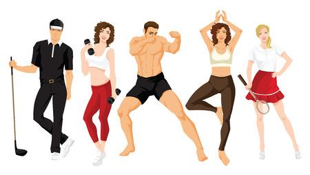 Illustratie van jonge die man en vrouw in sportkleding op witte achtergrond, Groep mensen in kleren voor sport of fitness wordt geïsoleerd. Stock Illustratie