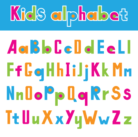 흰색 배경에 고립 된 간단한 글꼴의 그림, 다채로운 일러스트에서 어린 시절 알파벳.
