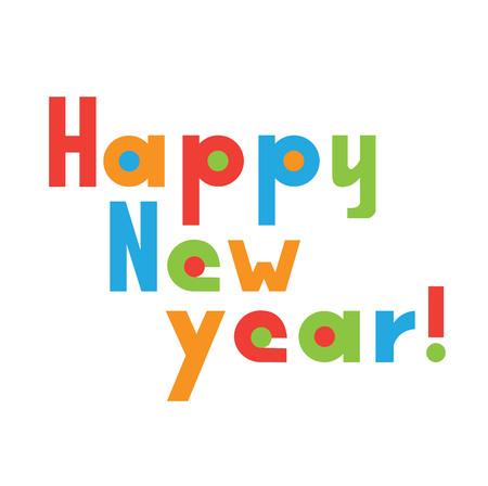 Vectordieillustratie van Gelukkige Nieuwjaarbrief op witte achtergrond wordt geïsoleerd Stock Illustratie