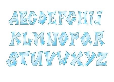흰색 배경에 고립 된 얼음 글꼴의 벡터 일러스트 레이 션. 어린 시절 알파벳.