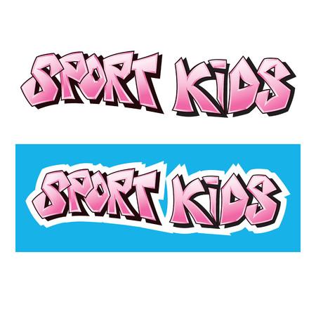 Ontwerp van graffiti pictogrammalplaatje voor verbeeldingsmerk Sport kinderen op witte achtergrond
