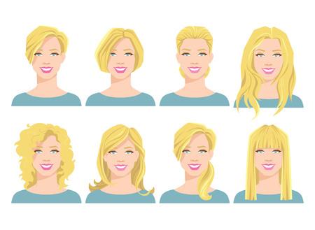 Vectorillustratie van jonge vrouw gezicht. Stock Illustratie