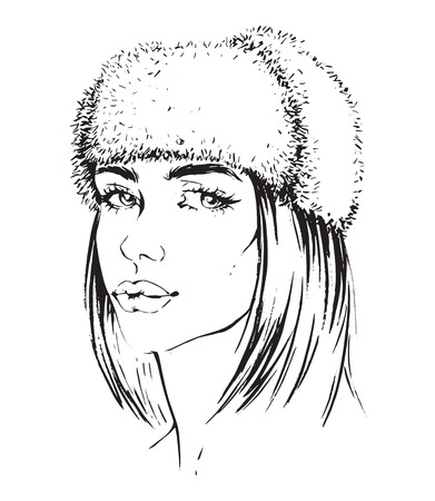 Vector hand-drawn illustration of a girl in fur hat isolated on white background. Young woman with bob haircut.