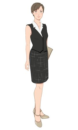 illustration of corporate dress code. Business woman or professor in formal clothes. White shirt, black vest, skirt and beige shoes isolated on white