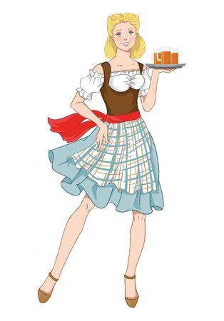 illustration of Oktoberfest in a traditional bavarian dress, serving beer isolation on a white background. 일러스트