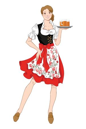illustration of Oktoberfest in a traditional bavarian dress, serving beer isolation on a white background. Stockfoto - 127959765