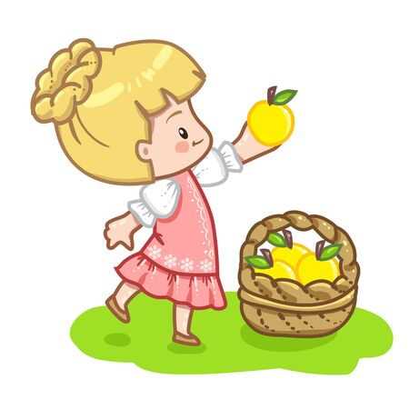 illustration of a girl in pink dress hat holding a yellow apple. Cute girl isolated on white background. Yellow apple in basket.