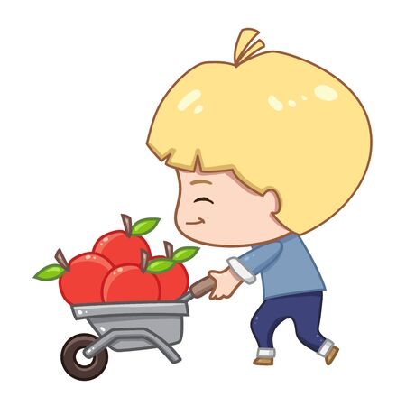 illustration of cute character isolated on white background. A farmer pushes a wheelbarrow of fruit. Vettoriali