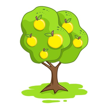 illustration of an apple tree isolated on a white background. Yellow apples. 일러스트