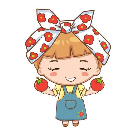 illustration of cute girl in headscarf holding red tomato. Cute girl character isolated on white background.