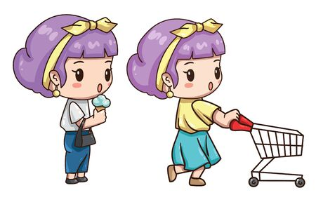 Vector illustration of cute chibi character isolated on white background. Girl with shopping cart. Cartoon girl eat ice cream. Fifties retro style of clothes.