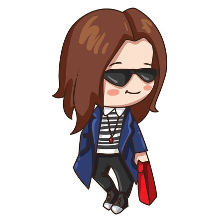 Vector illustration of cute chibi character isolated on white background. Cartoon girl in sunglasses, long blue coat and black pants.