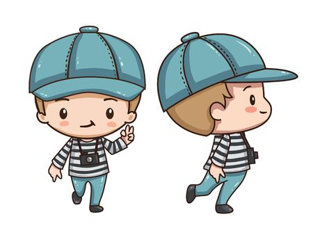 Vector illustration of cute chibi character isolated on white background. The boy traveler in red beret with camera. Front view and side view. Vettoriali