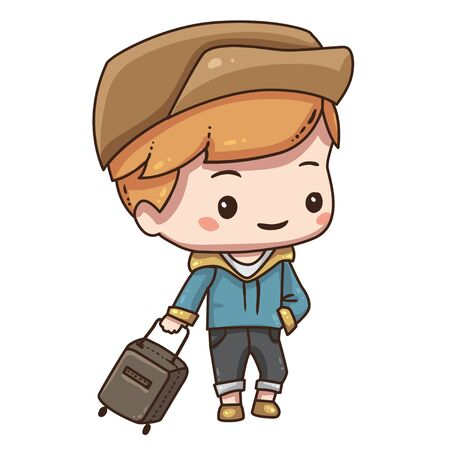 Cartoon tourist with travel bag. Vettoriali