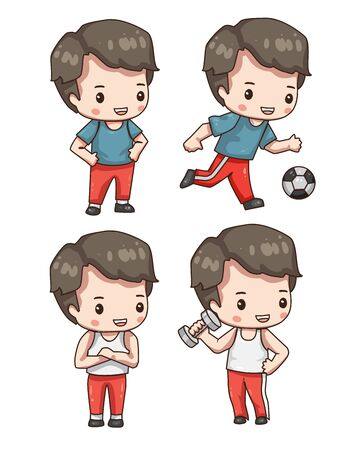Vector illustration of cute chibi character in various pose isolated on white background. Collection of cartoon boy in sportswear isolated on white background. Stock Illustratie