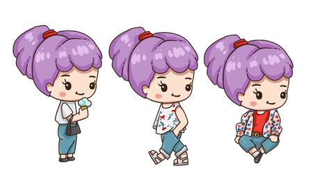 Vector illustration of  chibi character isolated on white background. Cute cartoon girl with lavender color of hair. Girl in different pose. Standing, sitting and walking pose. Vettoriali