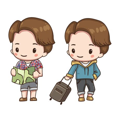 Vector illustration of cute chibi character isolated on white background. Cartoon tourist with map. Boy with travel case.