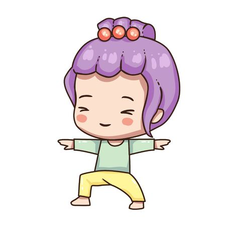 Vector illustration of cute chibi character isolated on white background. Cartoon girl in sport wear isolated on white background. Young girl in yoga pose. Stock Illustratie