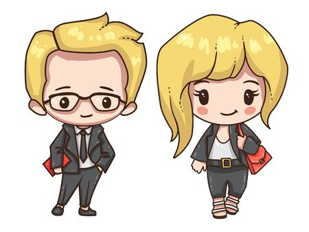 Cartoon business man and woman in formal clothes. Stock Illustratie