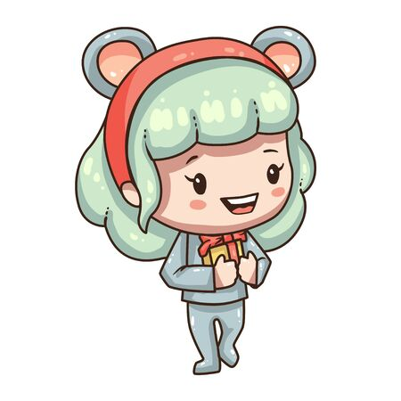 Cartoon girl in mouse costume for new year 2020. Little girl with gift box.