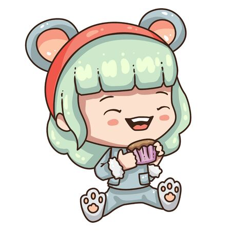 Cartoon girl in mouse costume for new year 2020. Little girl with muffin. Illustration