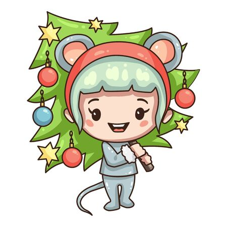 Cartoon girl in mouse costume for new year 2020. Girl with christmas tree.
