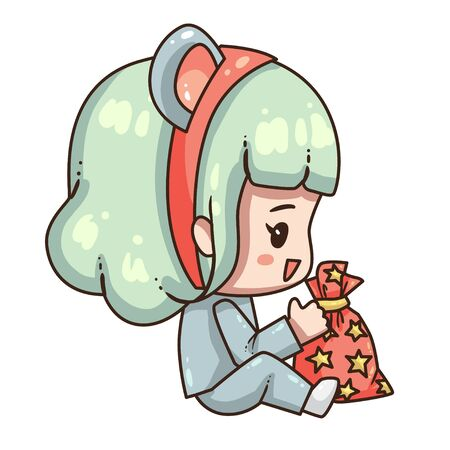 Cartoon girl in mouse costume for new year 2020. Little girl with gift bag.