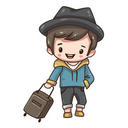 Vector illustration of cute chibi character isolated on white background. Cartoon tourist with travel case.