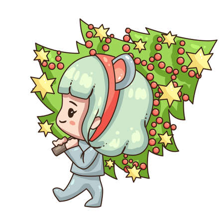 Vector illustration of cute chibi character isolated on white background. Cartoon girl in mouse costume for new year 2020. Girl with christmas tree.