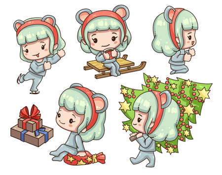 Vector illustration of cute chibi character isolated on white background. Cartoon girl in mouse costume for new year 2020.