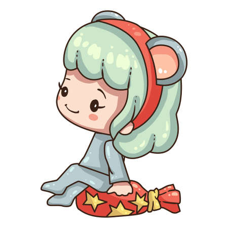 Vector illustration of cute chibi character isolated on white background. Cartoon girl in mouse costume for new year 2020. Little girl with gift bag.