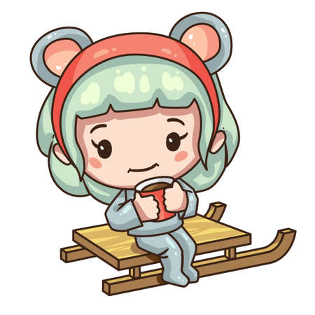 Vector illustration of cute chibi character isolated on white background. Cartoon girl in mouse costume for new year 2020. Little girl ride on a sleigh.