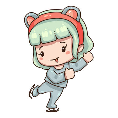 Vector illustration of cute cartoon girl. Kawaii chibi character isolated on white background. Cartoon girl in mouse costume for new year 2020. Ice skating girl.