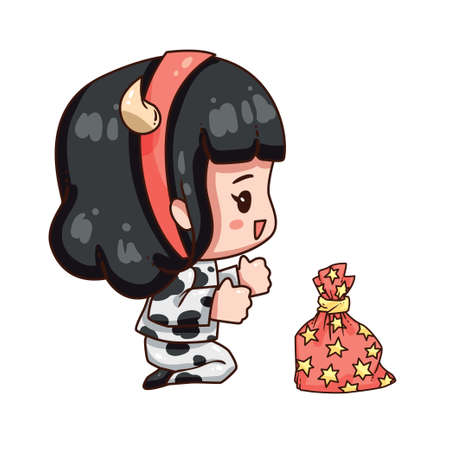 Vector illustration of cute chibi character isolated on white background. Cartoon girl in cow costume for new year 2021. Little girl with gift bag. Stock Illustratie