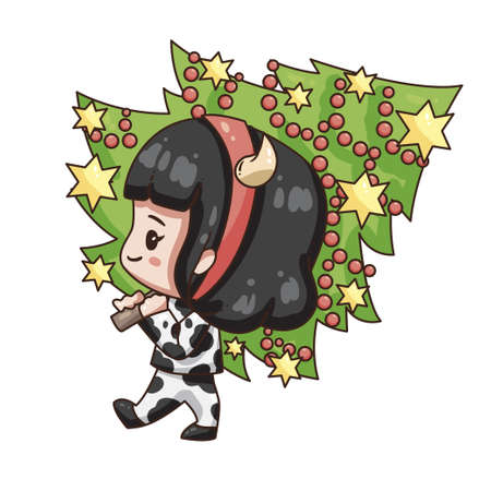 Vector illustration of cute chibi character isolated on white background. Cartoon girl in cow costume for new year 2021. Girl with christmas tree.