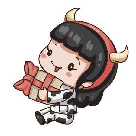 Vector illustration of cute chibi character isolated on white background. Cartoon girl in cow costume for new year 2021. Little girl with gift box.