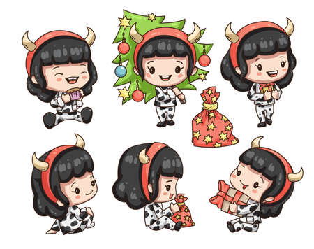 Vector illustration of cute chibi character isolated on white background. Collection of cartoon girl in mouse costume for new year 2021.