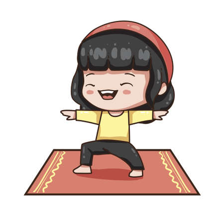 Vector illustration of cute chibi character isolated on white background. Cartoon girl in sport wear isolated on white background. Young girl in yoga pose. Ilustração