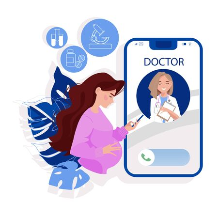 Online consultation to the doctor via smartphone. Online medical support. Healthcare services, Call a doctor. Family female doctor, gynecologist with stethoscope on the screen